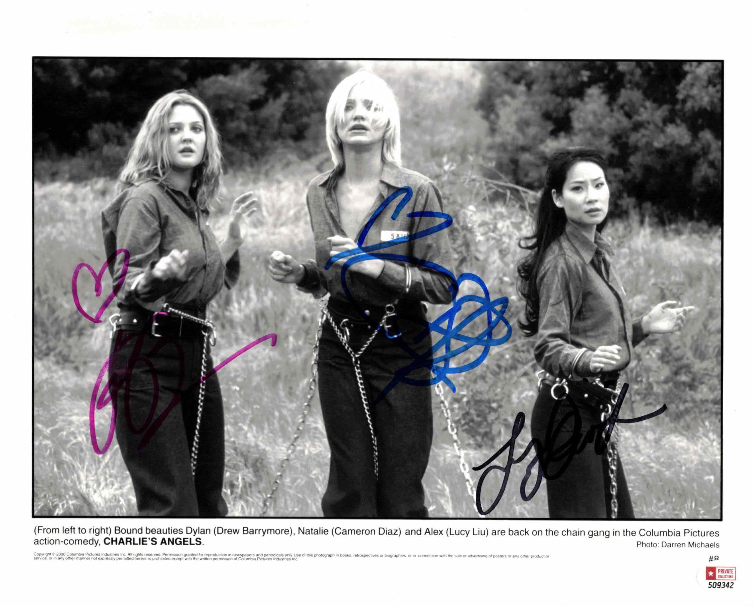 Cameron Diaz, Drew Barrymore & Lucy Liu / Charlieho andílci - autogram