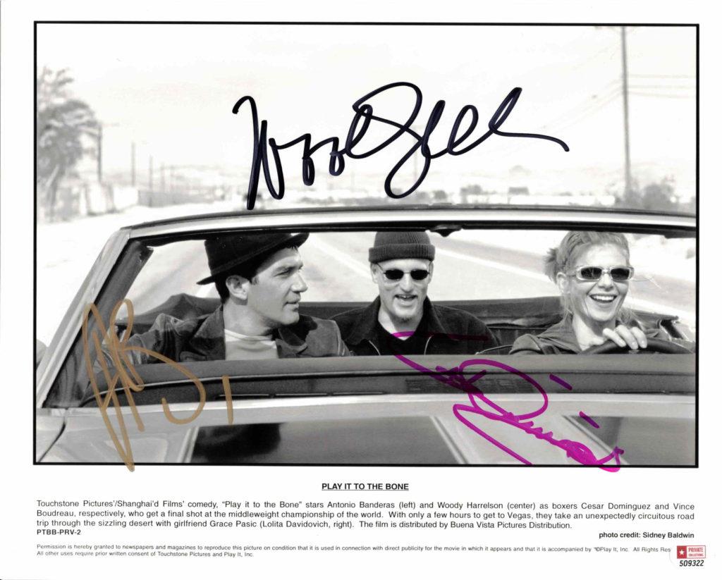 Antonio Banderas, Woody Harrelson & Lolita Davidovich - autogram