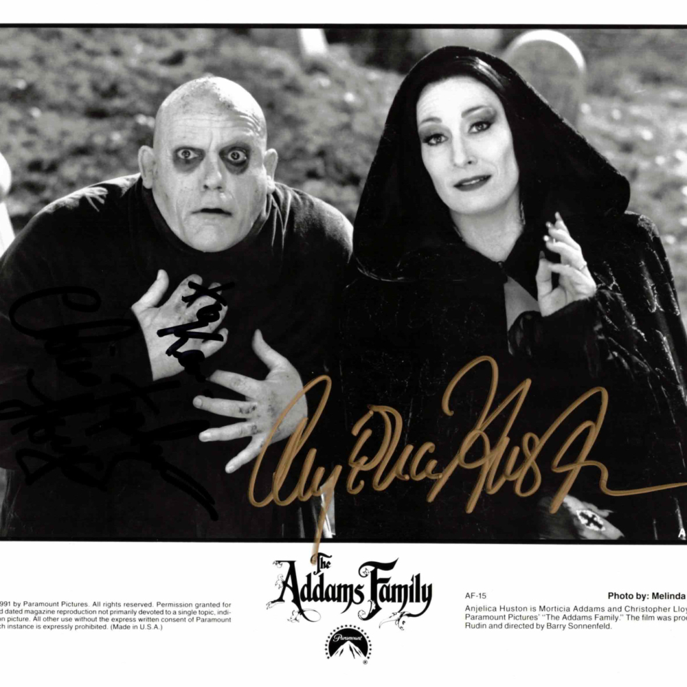 Christopher Lloyd & Anjelica Huston / Addams family - autogram