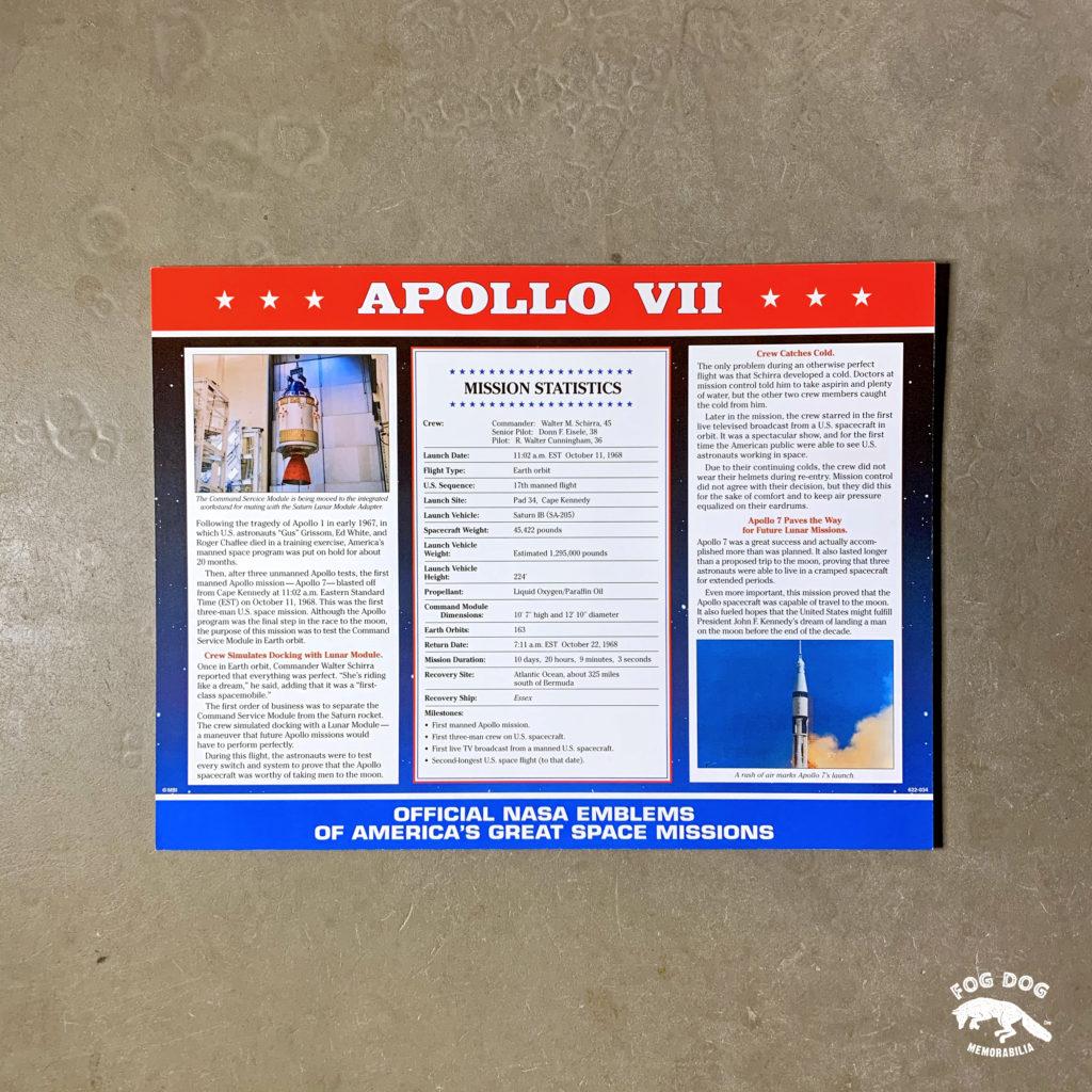 Oficiální textilní nášivka NASA - APOLLO VII