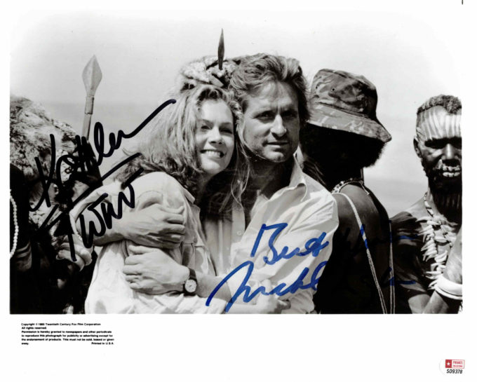 Michael Douglas & Kathleen Turner - autogram