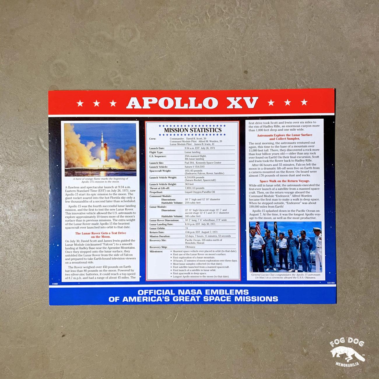 Oficiální textilní nášivka NASA - APOLLO XV