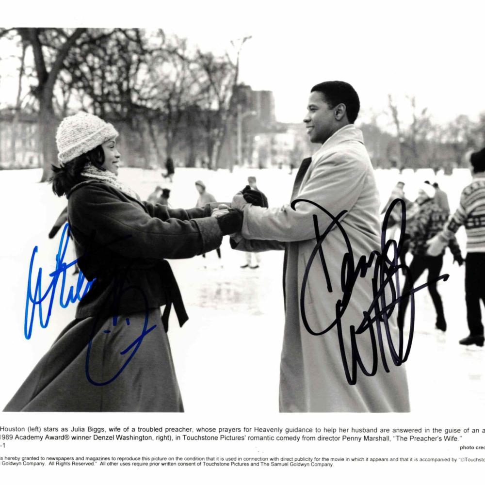 Whitney Houston & Denzel Washington - autogram
