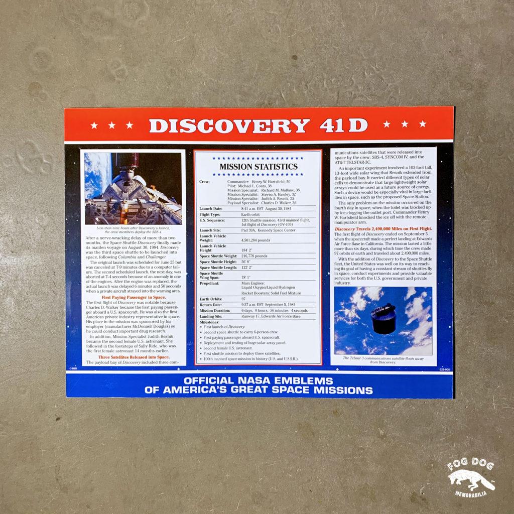 Oficiální textilní nášivka NASA - DISCOVERY 41D