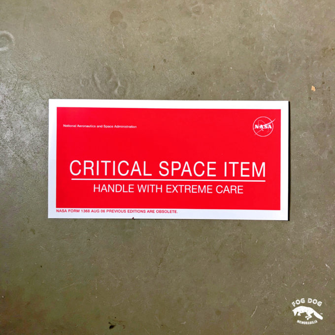 Samolepka NASA - CRITICAL SPACE ITEM