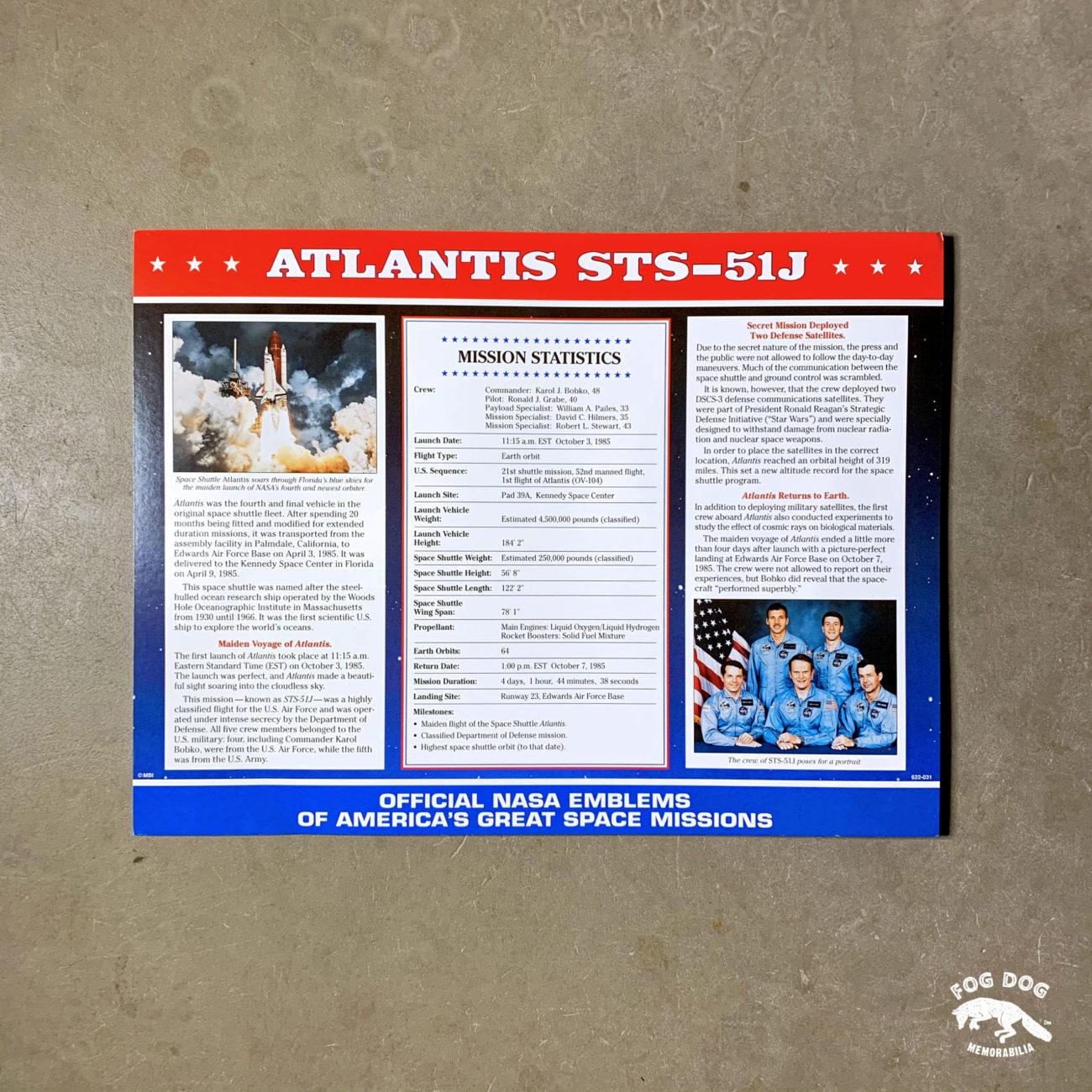 Oficiální textilní nášivka NASA - ATLANTIS STS-51J