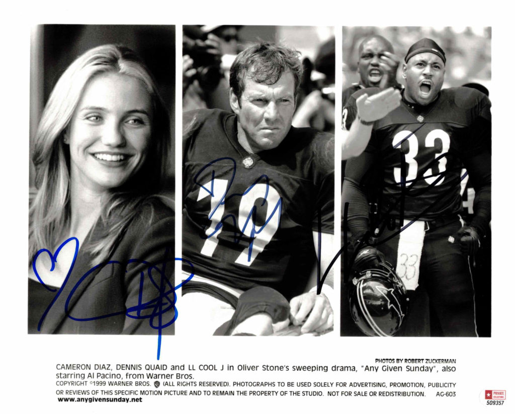 Cameron Diaz, Dennis Quaid & LL Cool - autogram
