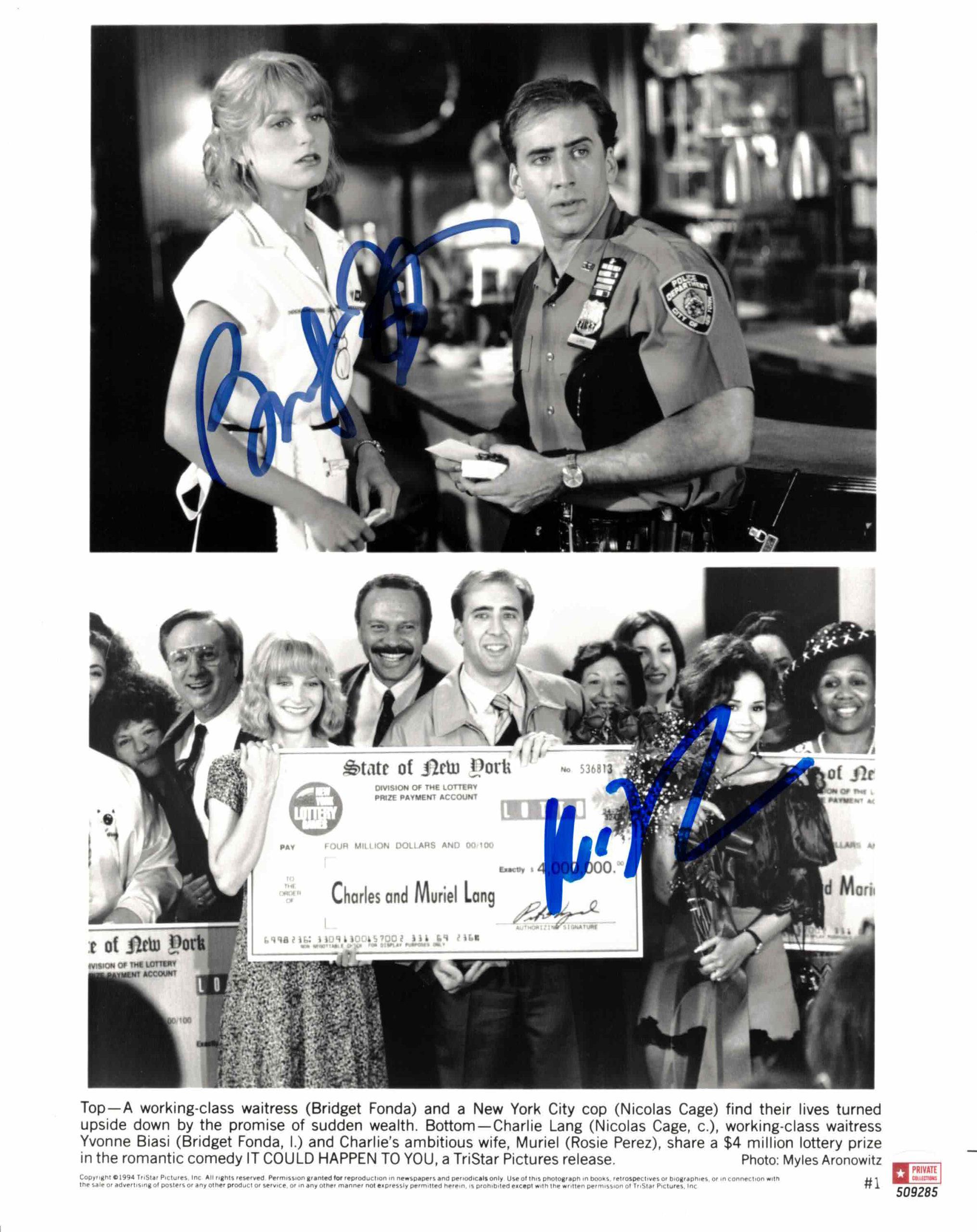 Bridget Fonda & Nicolas Cage - autogram