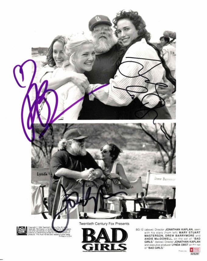 Drew Barrymore, Andie MacDowell & Jonathan Kaplan - autogram