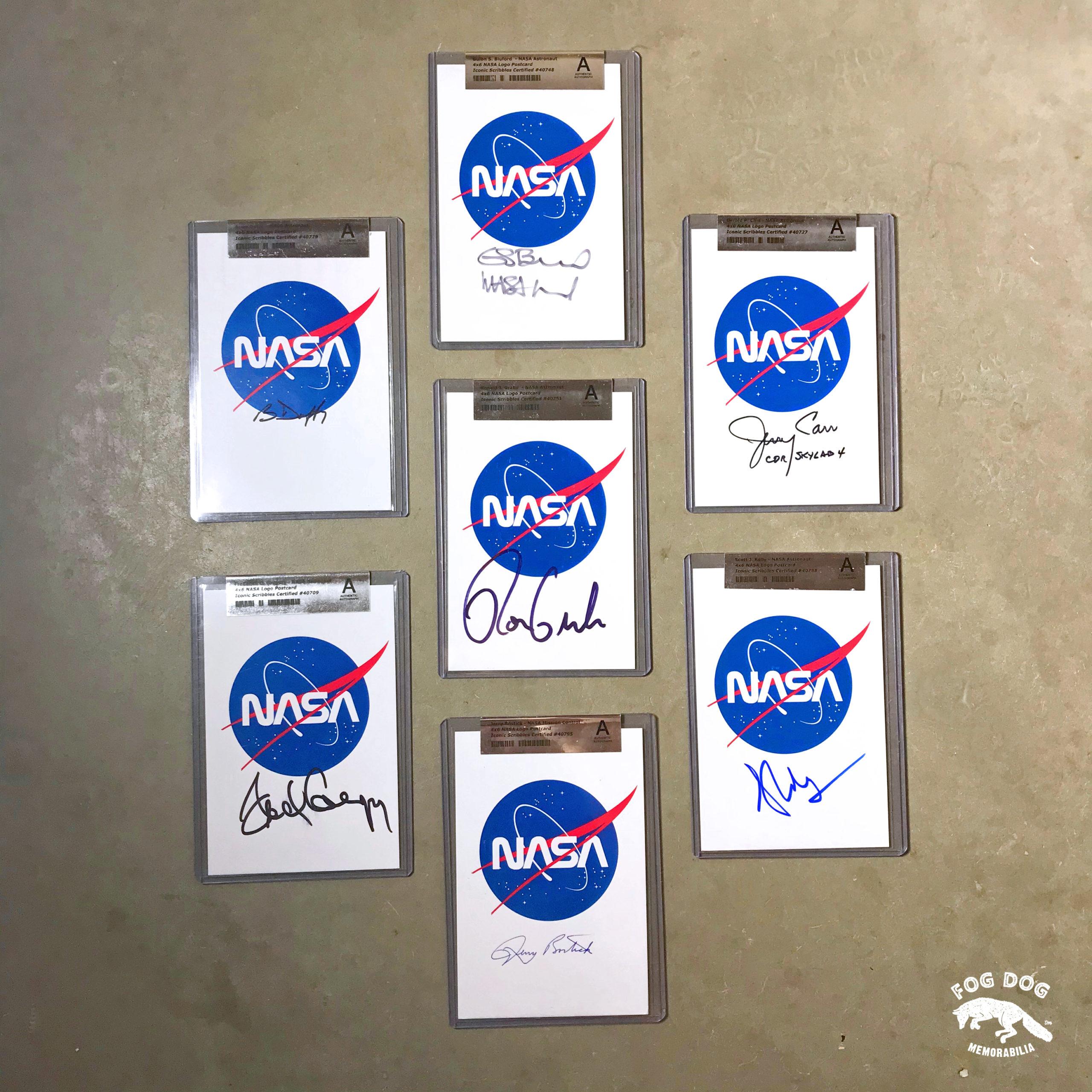 Soubor 7 autogramů NASA austronautů, certifikováno