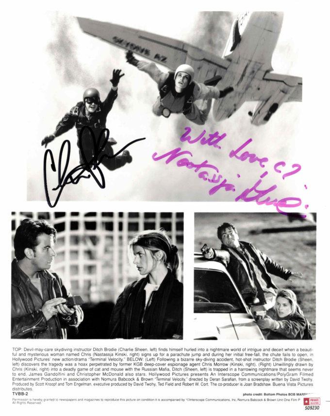 Charlie Sheen & Nastassja Kinski - autogram