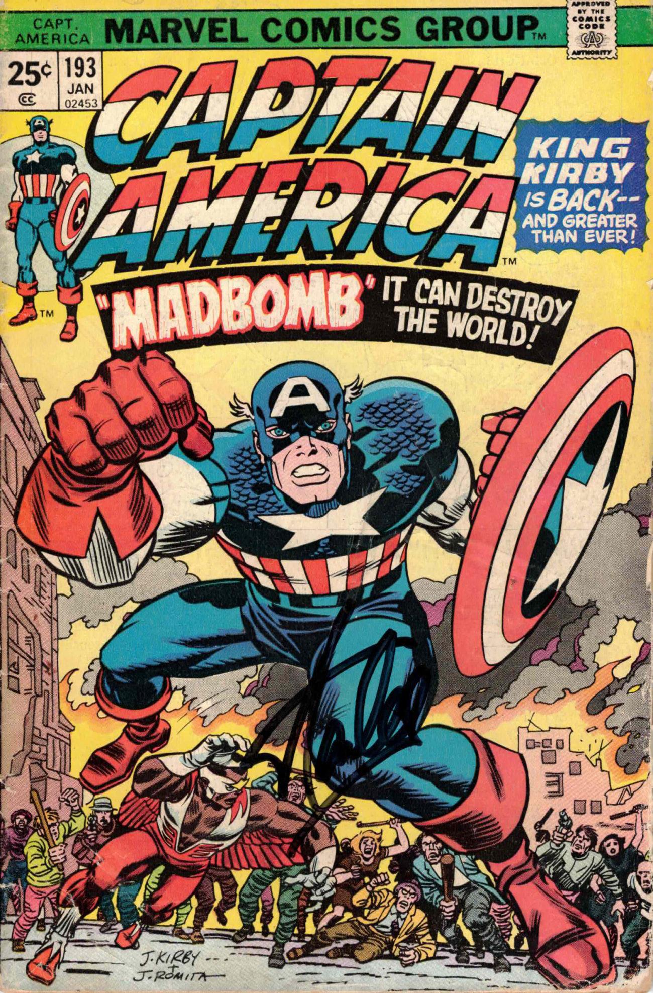 Stan Lee / CAPTAIN AMERICA komiks, celý sešit - autogram (JAN 1975)