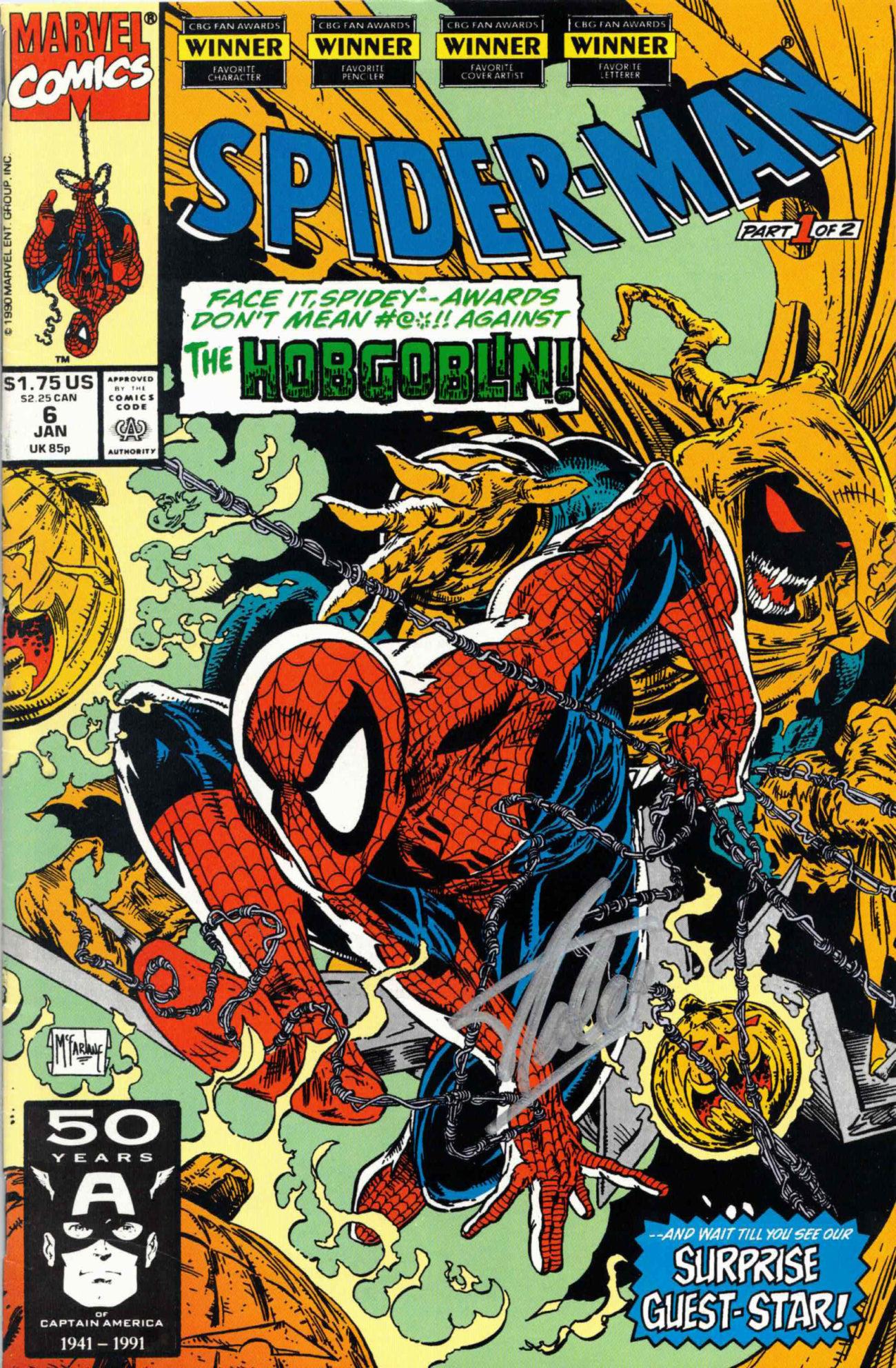 Stan Lee / SPIDER-MAN komiks, celý sešit - autogram (JAN 1990)