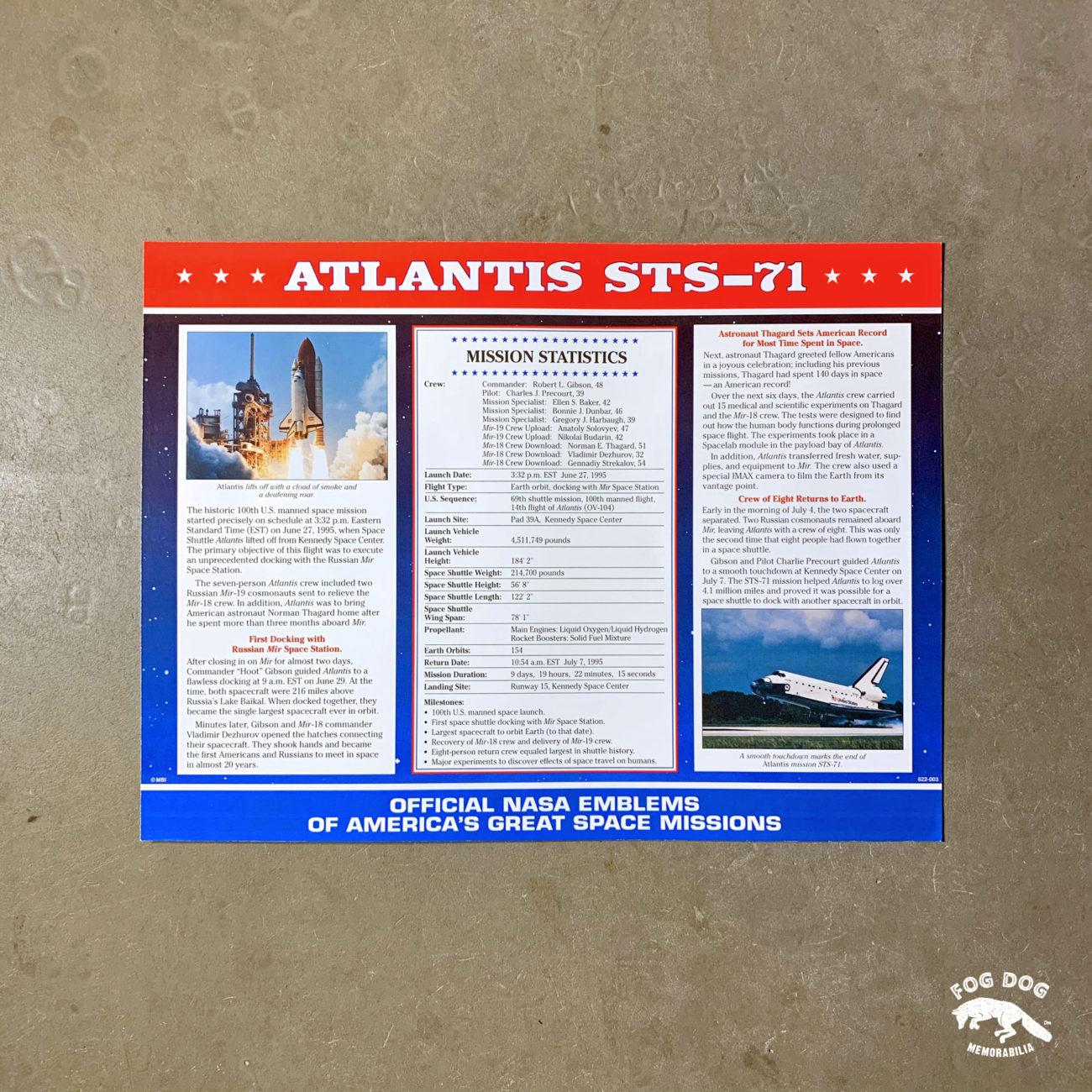 Oficiální textilní nášivka NASA - ATLANTIS STS-71