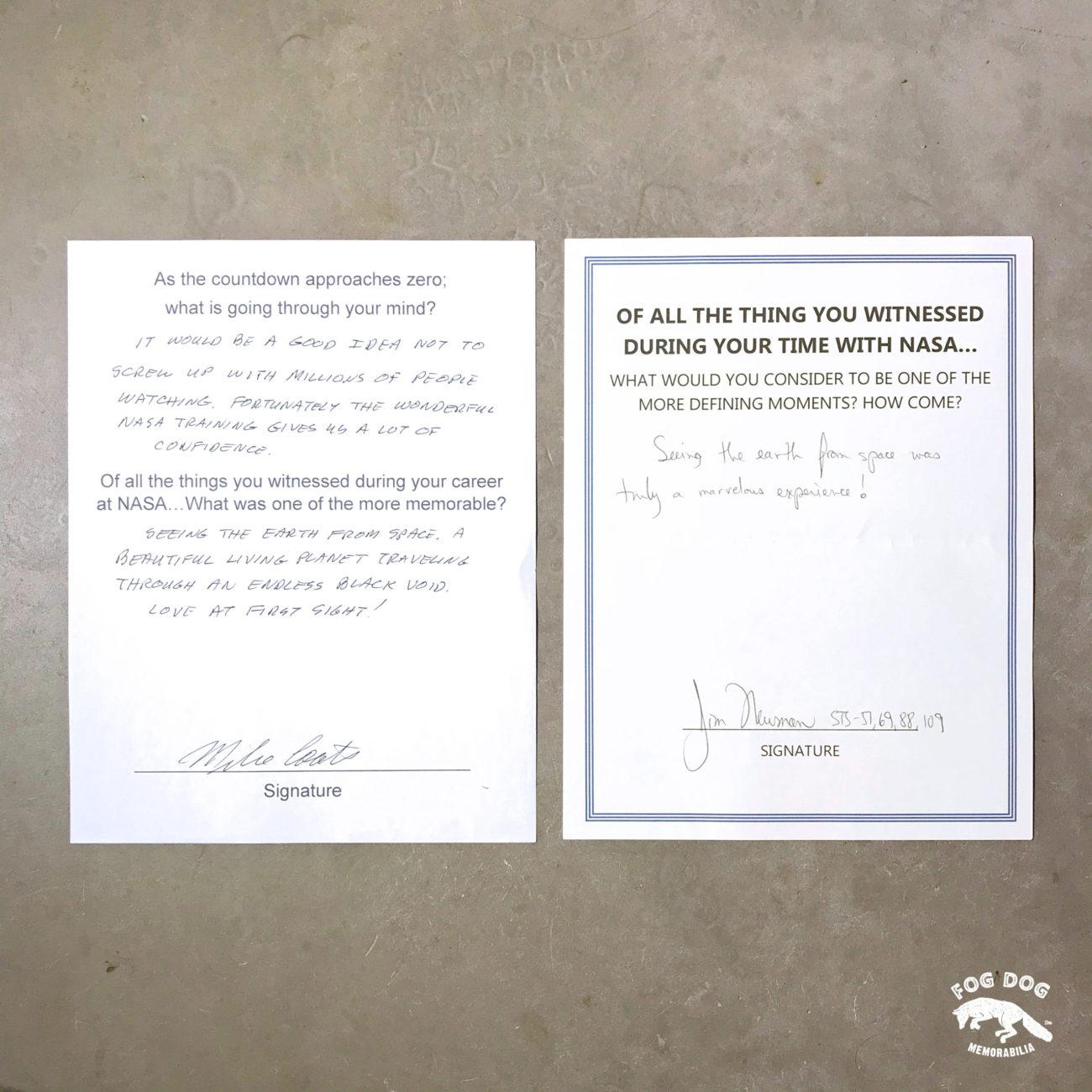 Ručně psaná zpověď astronautů Michaela Coatse a James Jima Newmana