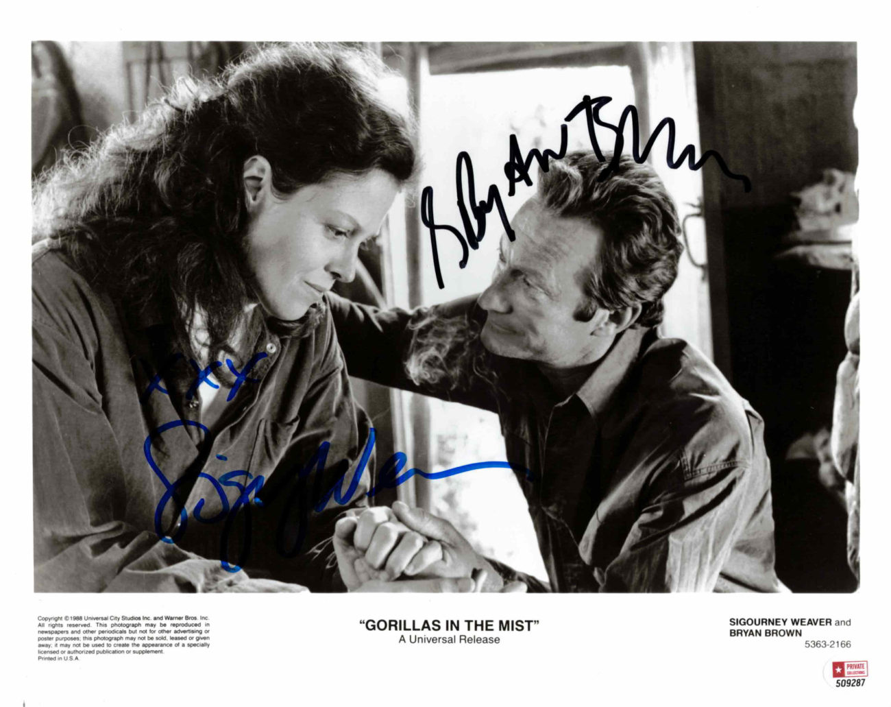 Sigourney Weaver & Bryan Brown - autogram