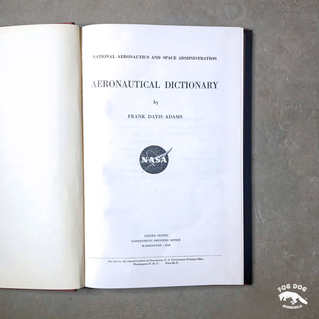 Publikace Aeronautical Dictionary NASA (1959)