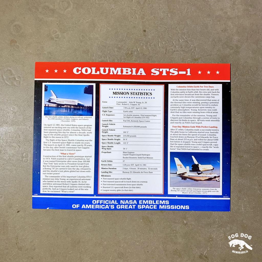 Oficiální textilní nášivka NASA - COLUMBIA STS-1
