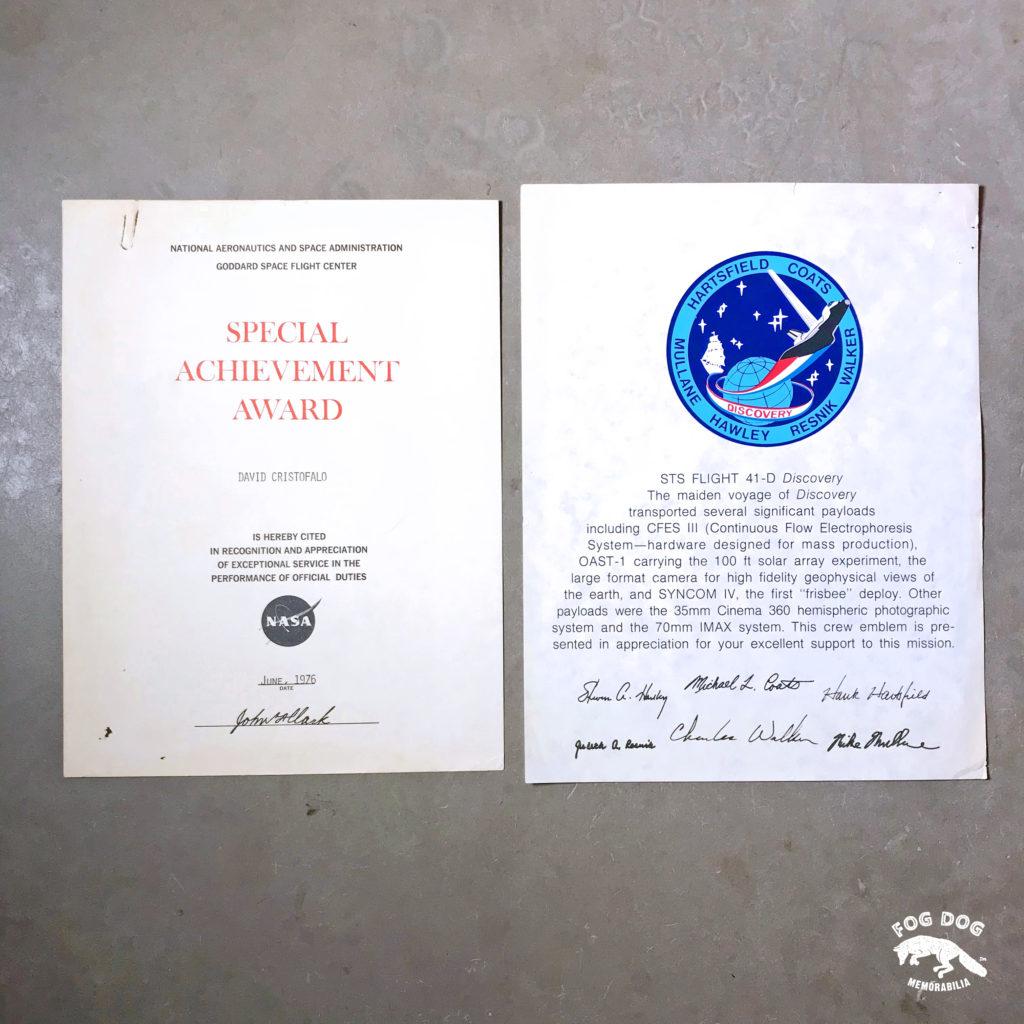 Certifikát a děkovný dopis NASA