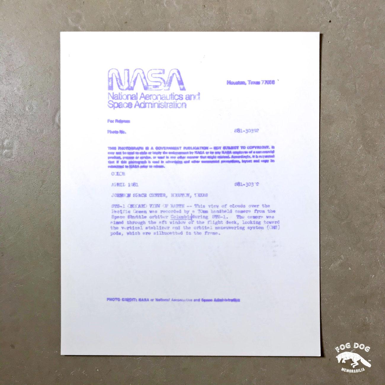 Oficiální fotografie NASA, číslovaná (1981)
