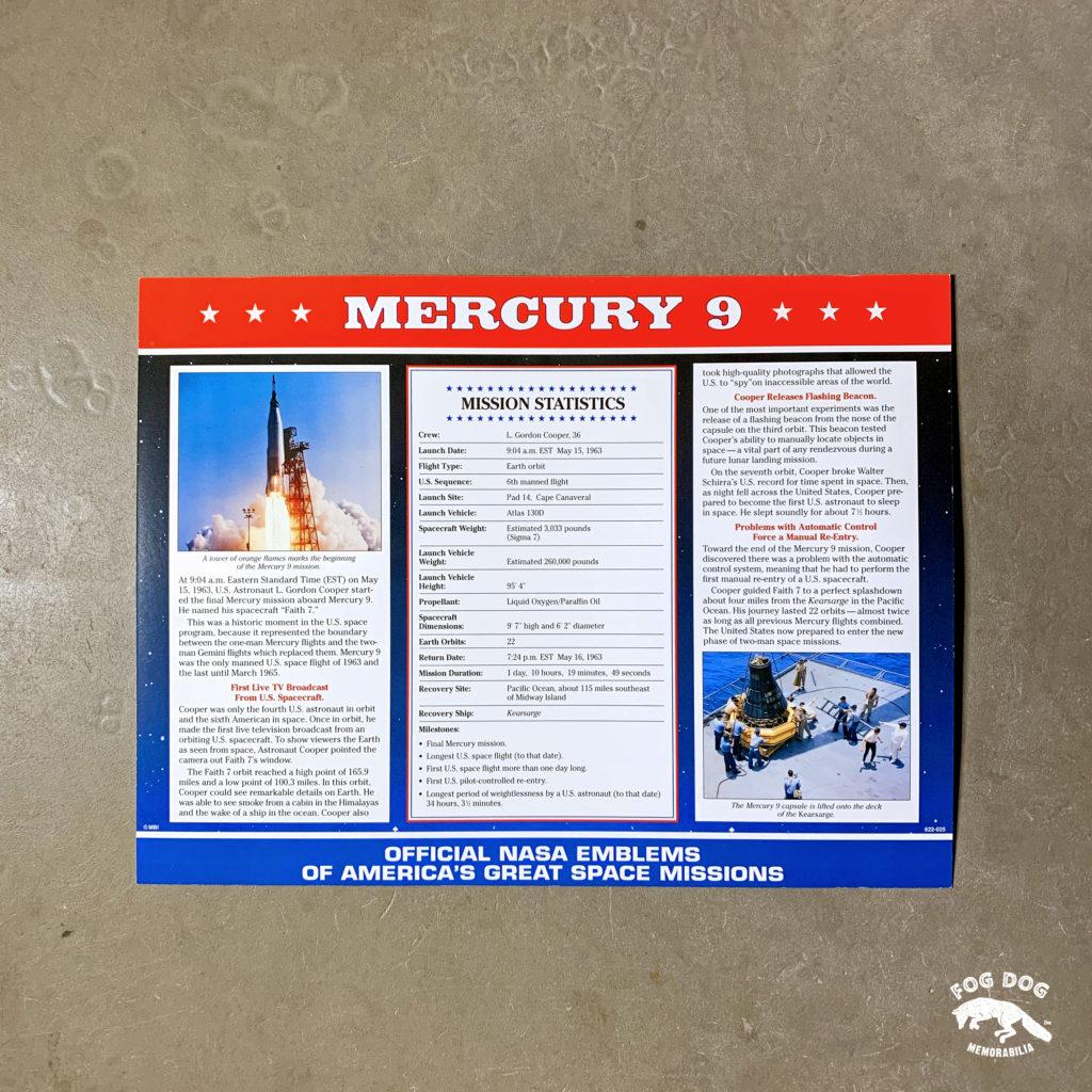 Oficiální textilní nášivka NASA - MERCURY 9