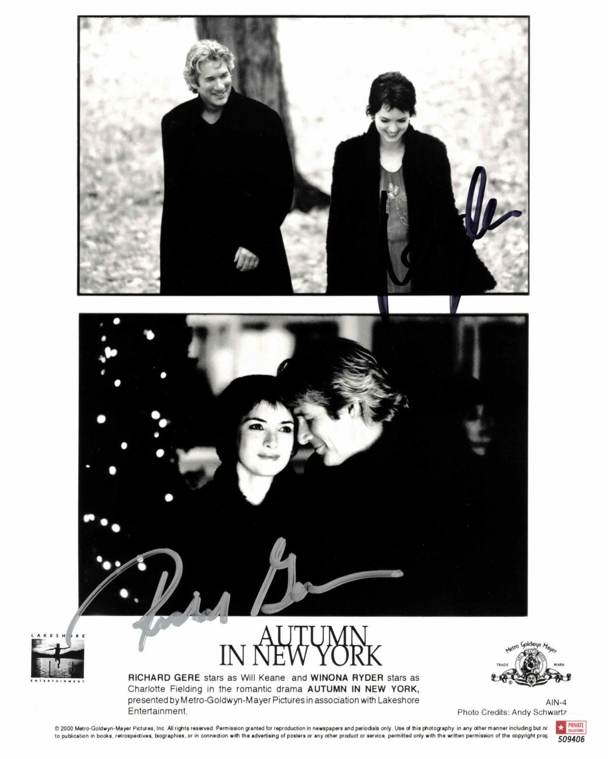 Richard Gere & Winona Ryder - autogram